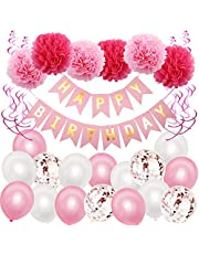 28PCS Birthday Decorations,Birthday Party Supplies for Girl and Women,Pink Paper Banner Tissue Pom Poms Hanging Swirl Balloons for 1st 10th 13th 16th 18th 19th 20th 21st 50th Party Supplies (Pink)
