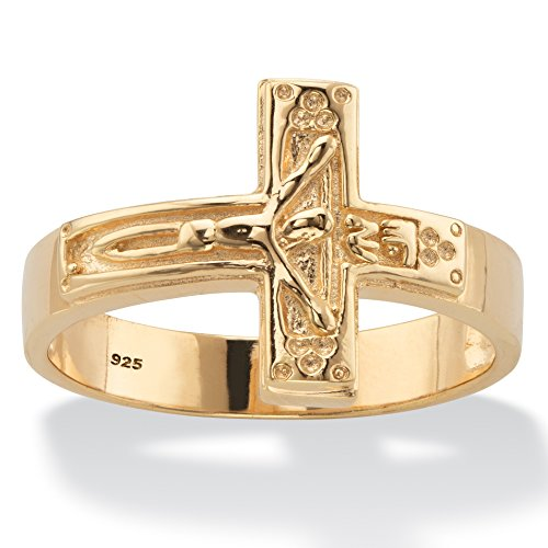 Men's 14K Yellow Gold over Sterling Silver Horizontal Crucifix Cross Ring Size 9