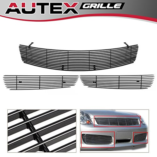 (AUTEX Aluminum Horizontal Billet Grill Grille Combo Compatible with Infiniti G35 Sedan 2005-2006 N87878A)