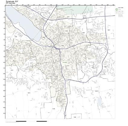 Amazon.com: ZIP Code Wall Map of Syracuse, NY ZIP Code Map Not ...