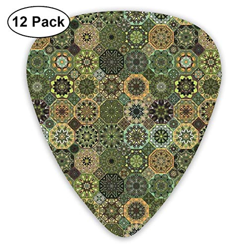 Guitar Picks 12-Pack,Ethnic Oriental Elements With Floral Design Retro Octagons And Rhombuses Pattern