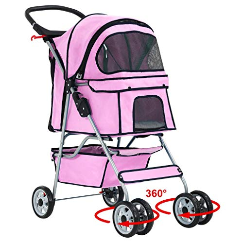 BestPet 4 Wheels Pet Stroller Cat Dog Cage Stroller Travel Folding Carrier 04T (Renewed)