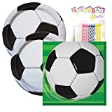 Soccer Birthday Party Tableware Plates and Napkin Bundle with 24 Candles (Serves 32)