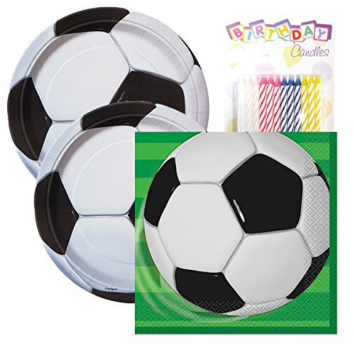 Soccer Birthday Party Tableware Plates and Napkin Bundle with 24 Candles (Serves 32) ()