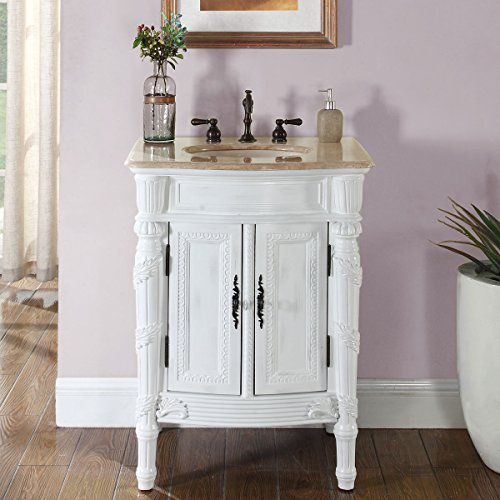 Silkroad Exclusive HYP-0134-T-UIC-26 Travertine Top Single Sink Bathroom Vanity with White Oak Finish Cabinet, 26