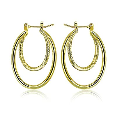 6d9b17fcf PAKSHO 9ct Gold with Inlaid Bronze2 twist Ladies Hoop Earrings,Jewelry  European Style (Oval Gold earrings for Womens): Amazon.co.uk: Jewellery