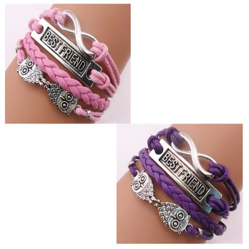Twinkle Handmade Best Friend Owls Charms Friendship Gift - Braid Personalized Suede Leather Bracelet
