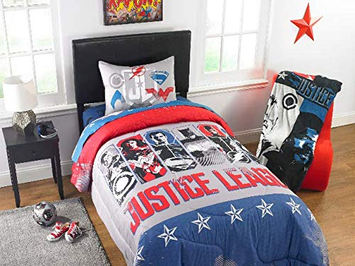 Franco Justice League Movie 'Call for Justice' Kid's Bedding Reversible Twin/Full Comforter with Sham by Franco