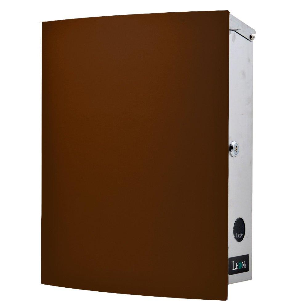 LEON (レオン) MB4504ネオ 郵便ポスト 壁掛けタイプ ステンレス製 鍵付き おしゃれ 大型 ポスト 郵便受け (マグネット付き MAIL BOXシート無し) チョコレート B076VKMPBQ 24624 チョコレート チョコレート