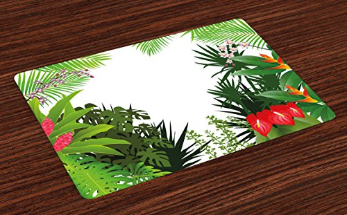 Anthurium Leaf - Ambesonne Leaf Place Mats Set of 4, Hibiscus Plumeria Crepe Gingers Anthurium Leaves Blossoms Image, Washable Fabric Placemats for Dining Room Kitchen Table Decor, Pink White