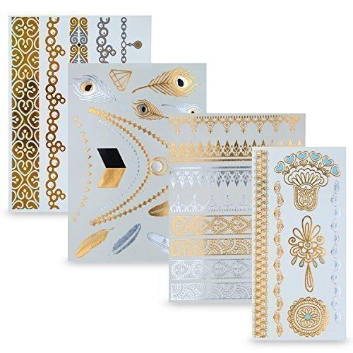 Flash Tattoo 4er Set - Temporäre metallic Klebe-Tattoos in Gold und Silber perfekt als Weihnachts-Geschenk für Mädchen und junge Frauen - von Ahimsa Glow