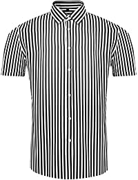 Men's Casual Short Sleeve Vertical Striped Slim Fit Dress Shirts
