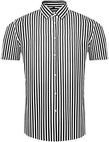 Woven Shirt Stripe Vertical (DOKKIA Men's Casual Short Sleeve Vertical Striped Button Down Dress Shirts (Black White, Small))