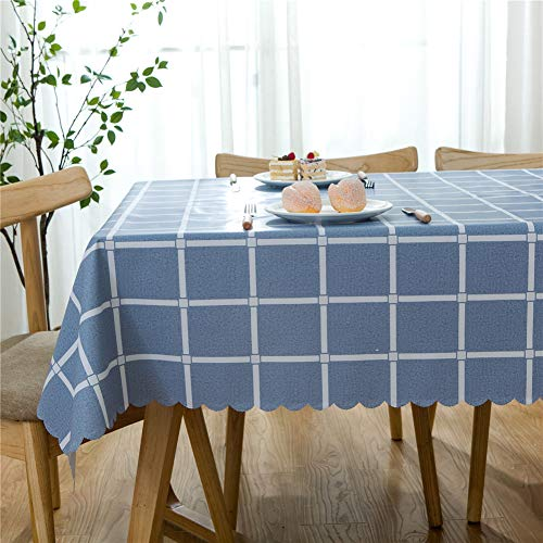 Omelas Plaid Vinyl Tablecloth Square 36x36in Blue and White Checkered PVC Oilcloth Wipe Clean Dining Kitchen Table Cover Protector Waterproof/Stain-Resistant/Oil-Proof (90x90cm,P-3) (Oilcloth Linen Tablecloth)