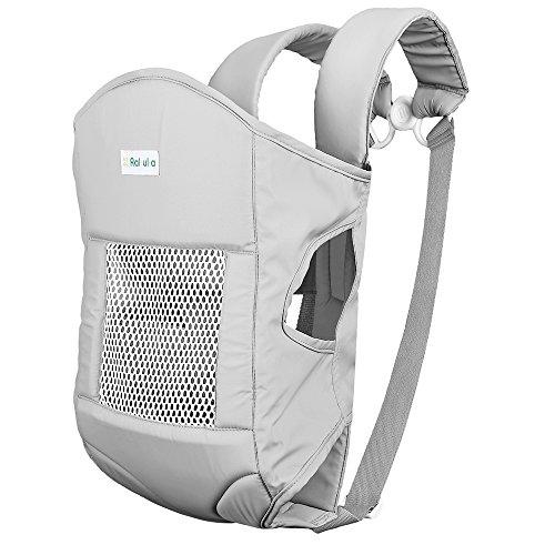 Rakuka Embrace-02 Babytrage mit stark gepolstertem Sitz, durchlässiges Material(Silber Grau, 5-15kg, 3-30 Monate)