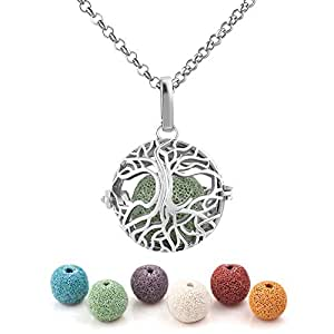 Third Time Charm Natural Lava Rock Stone Aromatherapy Family Tree Of Life Necklace For Essential Oil Diffuser Locket Pendant With 6 Lava Beads (Silver Plated)