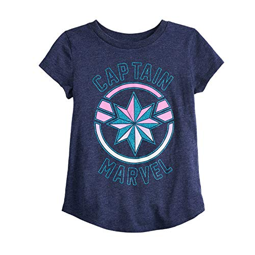 Jumping Beans Little Girls' 4-12 Captain Marvel Shield Tee 7 Heather Peacoat ()