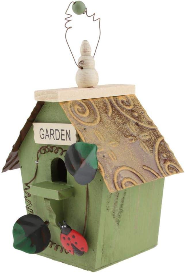 FUYIO Casita para pájaros de Madera Pintada a Mano con decoración de jardín al Aire Libre para el hogar con cordón de Yute, D