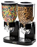 dry food dispenser triple - Double Chamber Airtight Cereal And Dry Food Dispenser With Built In Spill Tray For Home, Kitchen, Countertops, Breakfast, Pets, Cat Food, Dog Food, Candy, Pantry, And Meals By, Kitch N' Wares