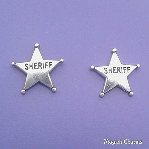 - 925 Sterling Silver Sheriff Badge Star Earrings Post Stud Jewelry Making Supply, Pendant, Charms, Bracelet, DIY Crafting by Wholesale Charms