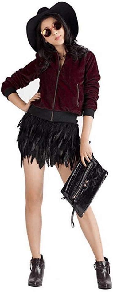 Deawecall Falda de Patchwork de Plumas Negras para Mujer Cintura ...