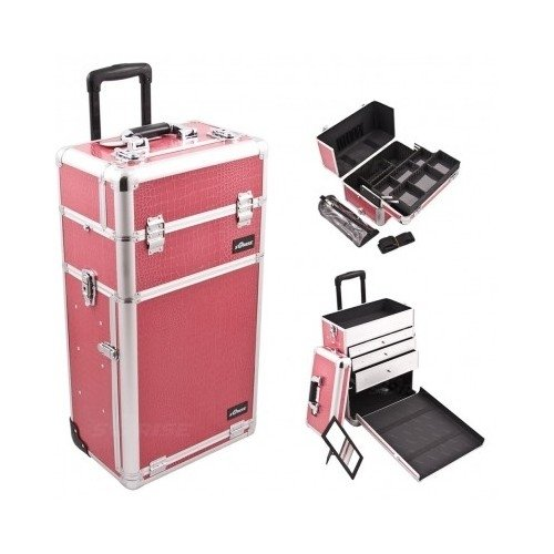 Professional Rolling Trolley Makeup Storage Case, Hot Pink Crocodile