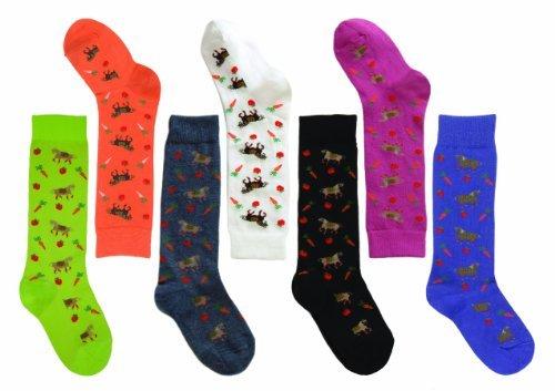 Ovation Girls' Pony Crew Socks Denim One Size US