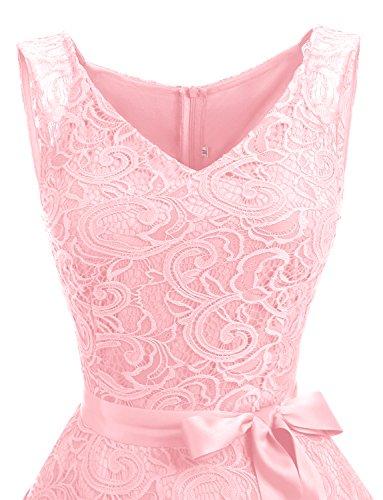 Spitzenkleid Festliches Dressystar Kleid Cocktailkleid Arm Ohne Spitzen Brautjungfernkleid Rosa aus Knielang w8a8qYrxt