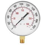"0-300psi All Purpose Pressure Gauge Meter Manometer for Gas Water Oil Pressure Tester Piezometer Instrument Base Entry NPT 1/4"""