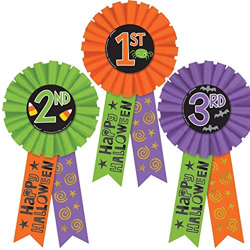 Amscan 210564 Halloween Award Ribbons 3ct, Multicolor