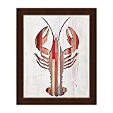 Colorful Wood-Planked Pattern Lobster Cutout on White Woodgrain-pattern 1 of 2 Wall Art Print on Canvas with Espresso Frame