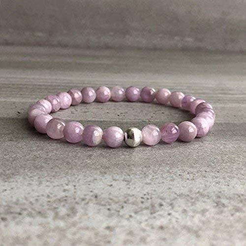 Kunzite Bracelet | Natural Crystal Bead Bracelet | Gold or Silver Pink Kunzite Jewelry | Men's, Women's Stretch Bracelet 6 mm 7 inch Long by Gemswholesale