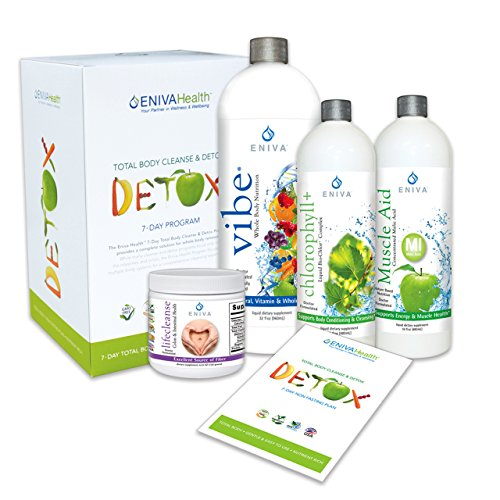 Detox Supplements Kit by Eniva Health Whole Body Detox Weight Loss Detox All Natural Detox 7 Day Detox Non-Fasting Detox - with 32 ounce Bottle by Eniva
