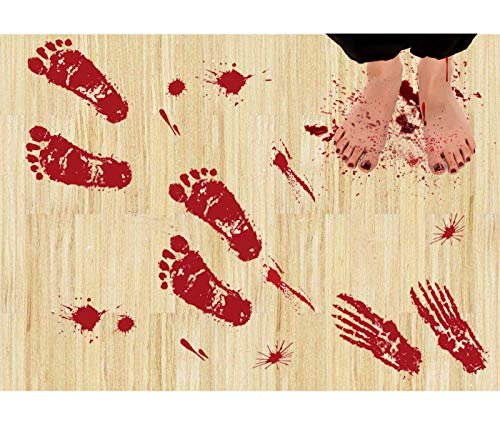 Wolmund 36 PCS Bloody Footprints Floor Clings and 45 PCS Bloodstain Decor, Halloween Vampire Zombie Party Decals Decorations Blood Splatter Stickers Supplies