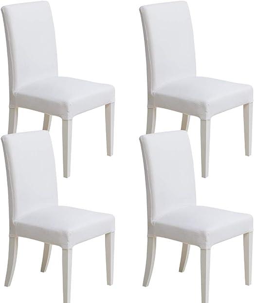 MIULEE Pack de 4 Fundas para Sillas Gránulos Comedor Fundas Elásticas Modernas bielástico Extraíbles y Lavables Funda Cubiertas para sillas Blanco: Amazon.es: Hogar
