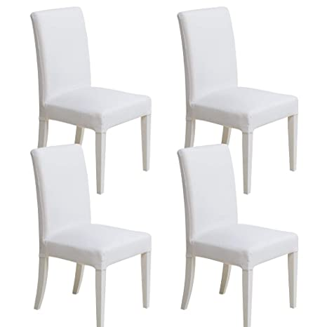 MIULEE Pack de 4 Fundas para Sillas Gránulos Comedor Fundas Elásticas Modernas bielástico Extraíbles y Lavables Funda Cubiertas para sillas Blanco