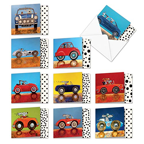 See Spot Drive - Box of 10 Colorful Blank Greeting Cards with Envelopes (4 x 5.12 Inch) - Vintage Car and Dog Lovers All-Occasion Note Cards - Notecard Set of Assorted Funny Cards MQ4977OCB-B1x10