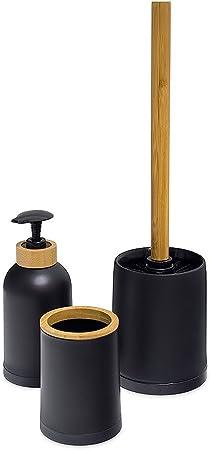 Balvi Set Salle de Bain Zen Couleur Noir Ensemble Set de 3 pièces  Distributeur de Savon,Verre et Brosse à WC Plastique PP/Bambou