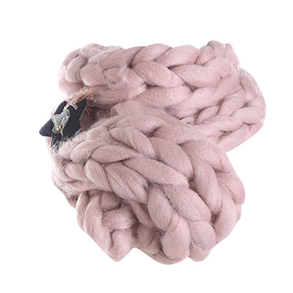 Kumike Fashion Women Super Coarse Warm Soft Handmade Chunky Arm Knitted Blanket Cotton Thick Line Scarf
