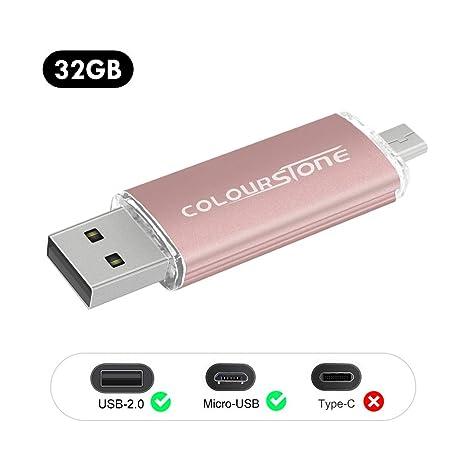 OTG Memoria USB 2.0, Colourstone 32GB Pendrive del Puerto Dual Compatible con Samsung Huawei Smartphones