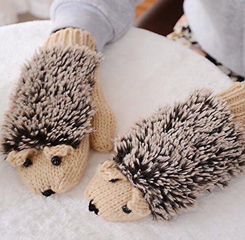 Forma de punto invierno niña Erizo guante Beige: Amazon.es: Hogar