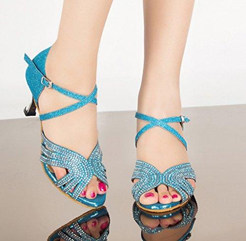Rhinestones Professional Sandals Womens Tango Glitter Morden Latin Dance Party Blue Toe Salsa Peep Ballroom Stylish CRC Material Wedding pfIR61p