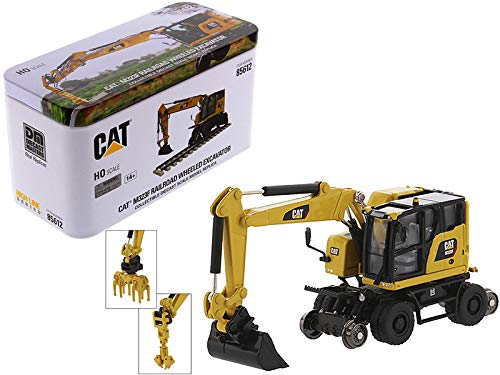 CAT Caterpillar M323F Railroad Wheeled Excavator with 3 Accessories High Line Series 1/87 (HO) Scale Diecast Model by Diecast Masters 85612