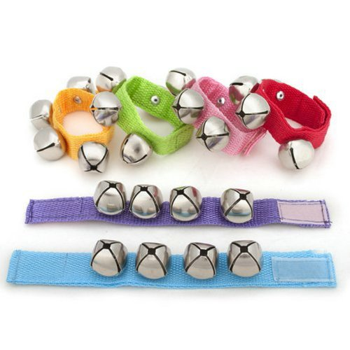 Ayygiftideas1dz Assorted Color Kids Webbed Nylon Wrist Bells Rattles Ring Bracelet by Ayygiftideas
