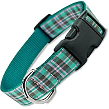 The Artful Canine Preppy Puppy Plaid Dog Collar, Teal & Pink Snap on Quick Release Fashion Dog Collar Made in USA, Medium Dogs 22-35lbs (Colllar 3/4 wide, 10-15 long)