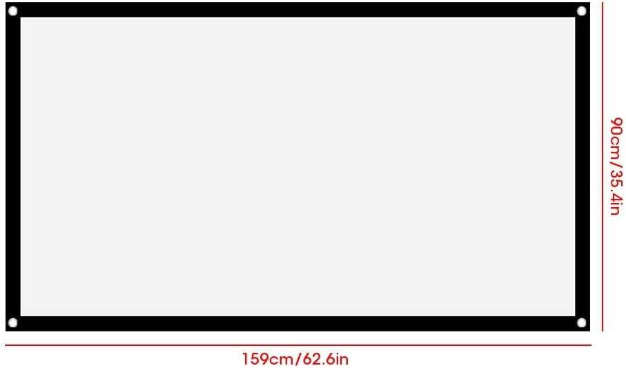 Pantalla de proyector 16: 9 Thicken cortina de proyector suave plegable y port/átil que no se pliega 72in pantalla de pel/ículas de proyector de exterior para interiores para pel/ículas de camping al