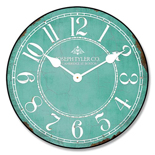 Aqua & White Wall Clock, Available in 8 Sizes, Most Sizes Ship The Next Business Day, Whisper Quiet. ()