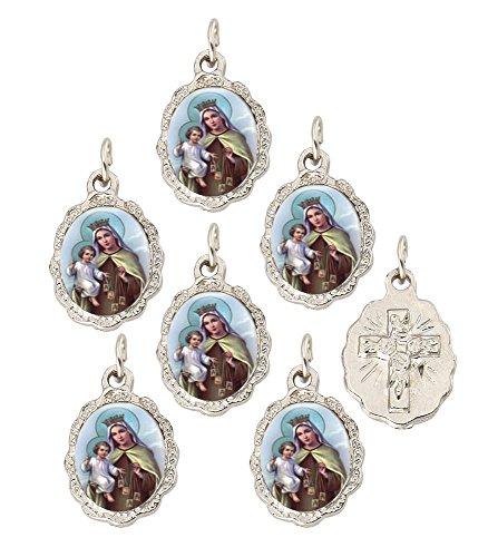 Catholica Shop Catholic Religious Wear Lady of Mount Carmel Silver Tone Medal Pendant - Lot of 6 ()