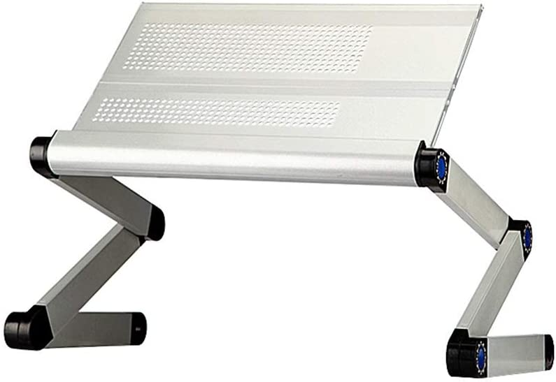 Aluminum Alloy Foldable Adjustable Laptop Bed Table with Heat Dissipation Below 15.6 Inch Color : Silver, Size : 42X24.5X40CM Wz Laptop Desk Stand