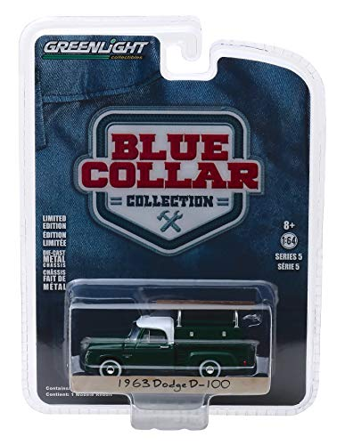 (1963 Dodge D-100 Pickup Truck with Ladder Rack Green with White Top Blue Collar Collection Series 5 1/64 Diecast Model Car by Greenlight 35120 B )